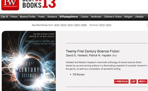 PW web page giving the anthology's editors as 'David G. Hartwell and Patrick N. Hayden'.